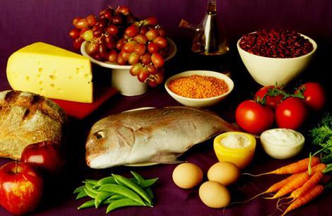 Assorted healthy food.